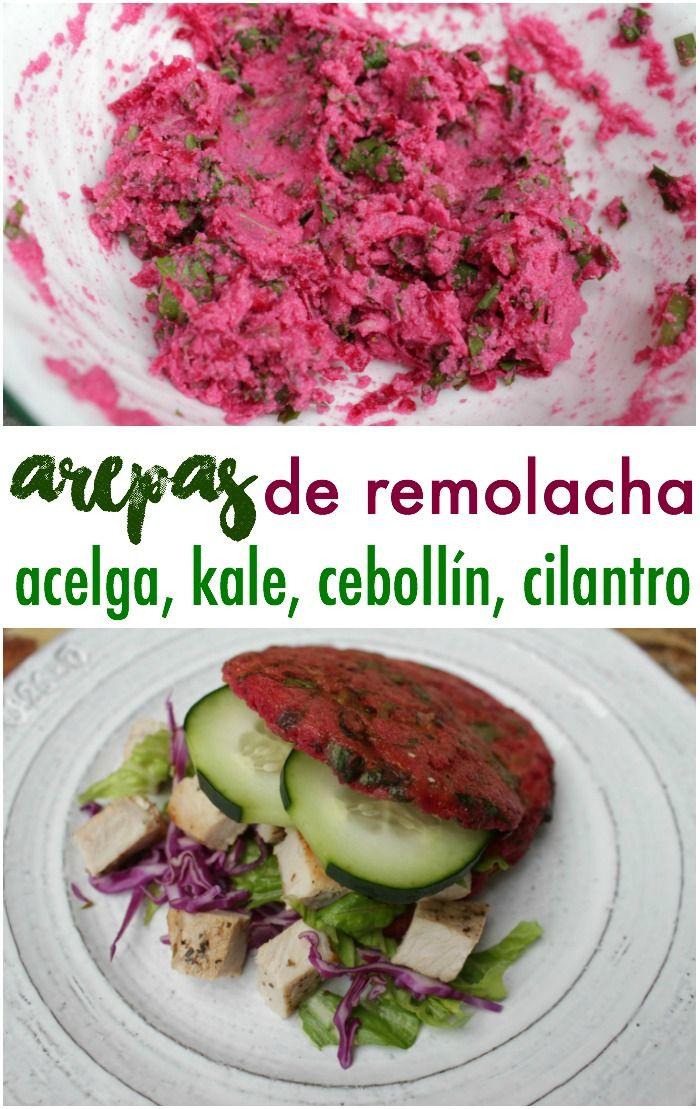Esta arepa saludable de remolacha, kale (col rizada), acelga, cilantro, cebollín y pimentón verde es riquísima, además con solo 10 cucharadas de harina de maíz puedes hacer hasta 3 arepas. Receta