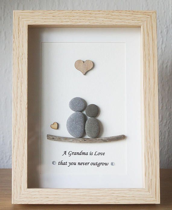 Pebble Art Framed Picture Grandma Grandmother And Child A Pebble Art Stone Pictures Pebble Art Scrabble Art