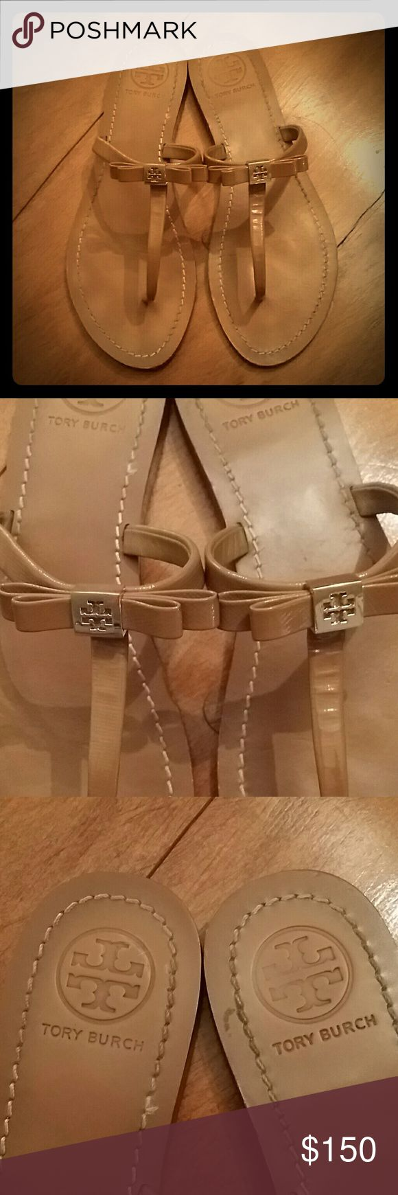 Tory Burch Nude Sandals Nude Tory Burch bow sandals. Nearly new. Worn 1-2x. No box or dust bag. Gold accents. Very little wear and tear. Pictures accurately show color and any blemishes. Size 9. Please ask questions before buying. Tory Burch Shoes Sandals