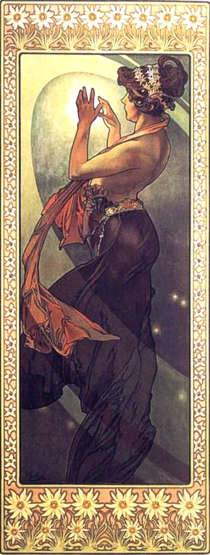 """The Pole Star"" ~ Alphonse Mucha l ~ Click through the large version for a full-screen view (with a black background in Firefox). Set your computer for full-screen. ~ Miks' Pics ""Alphonse Mucha l"" board @ http://www.pinterest.com/msmgish/alphonse-mucha-l/"