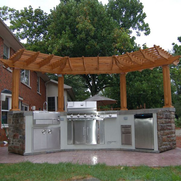 Grill Island With Stainless Steel Appliances U0026 Custom Stone, Tile U0026 Wood  Pergola
