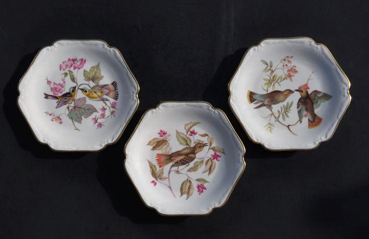 Vintage Dessert Plates Set of 3, Birds, Mitterteich Bavaria Fine Bone China, Germany, Collectors Decorative Plates, Hexagon Shape, Gold Trim by FabsAndFaves on Etsy