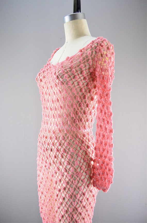 Vintage crochet dress / Sheer pink dress / Hourglass by melsvanity, $88.00