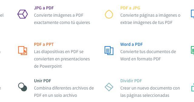 Small Pdf nos permite hacer varias acciones online: comprimir un PDF, pasar de PDF a otros formatos  (JPG, Word, Excel, PPT Y viceversa),...