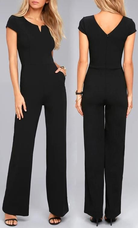 543cc2e572 Black Daily Fashion Short Sleeve Wide Leg Jumpsuit in 2019 ...