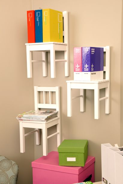 Children's chairs as wall shelves. Freaking cool!