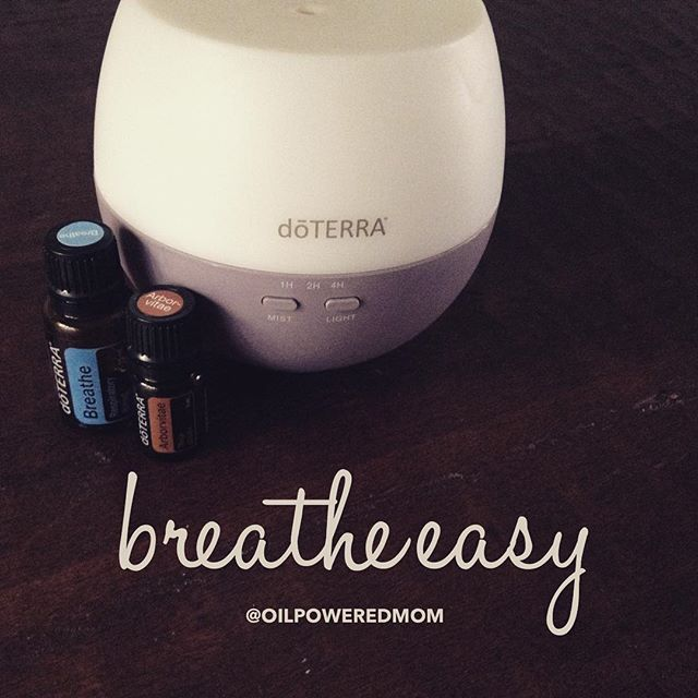 Diffuse!!  Breathe helps kids sleep well even when they are stuffed up, and is antiviral and antibacterial. Arborvitae is an amazing immune booster! It's really strong though, so 1 drop in a diffuser blend is definitely enough. #momwin 5 drops doTERRA BREATHE essential oil blend 1 drop doTERRA ARBORVITAE essential oil
