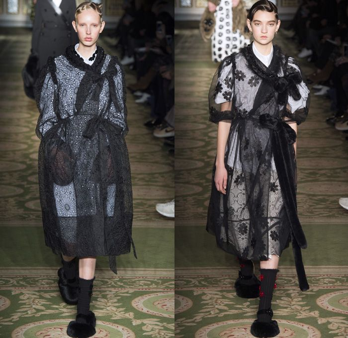 Simone Rocha 2017-2018 Fall Autumn Winter Womens Runway Catwalk Looks - London Fashion Week Collections UK United Kingdom - Victorian Military Army Velvet Crossbody Belt Stoles Shawl Bathrobe Daisies Flowers Floral Motif Lace Embroidery Needlework Maxi Dress Braid Bow Ribbon Shaggy Plush Fur Oversized Outerwear Coat Tiered Skirt Frock Mix Match Half & Half Ruffles Cargo Pockets White Ensemble Vest Waistcoat Embellishments Decorated Bedazzled Blouse Check Plaid Trompe L'oeil Furry Slippers…