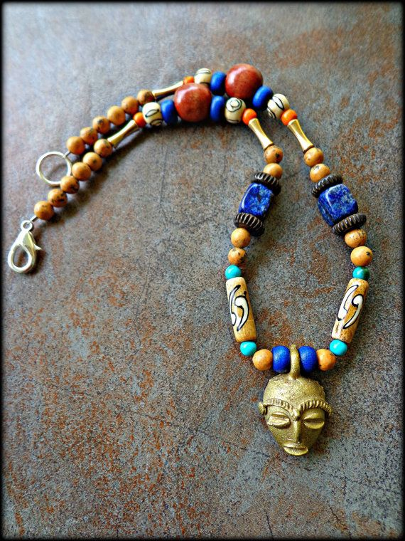 Mens Tribal Necklace Mens Ghanaian African Mask Necklace