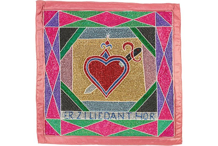 Haitian flags from the Cargo Collection on view at the Birmingham Museum of Art. Vodoun Flag or Banner (Erzilie Danthor), Haiti, 1980's, satin, sequins, and glass beads