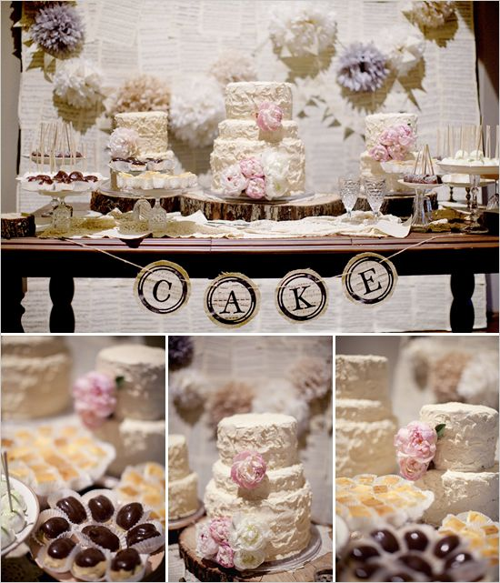 cake table: Desserts Buffet, Shabby Chic Wedding, Cakes Display, Cakes Tables, Cakes Buffet, Sheet Music, Desserts Bar, Parties Ideas, Desserts Tables