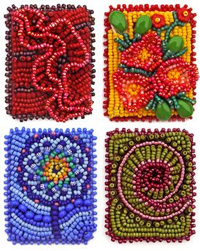 Oh my, these make me want to take up bead embroidery they are from Robin Atkins book -  Heart to Hands Bead Embroidery Fresh Ideas and Techniques for Creating Art with Beads.   The red ruffles are intriguing.  #seed #bead #eyecandy