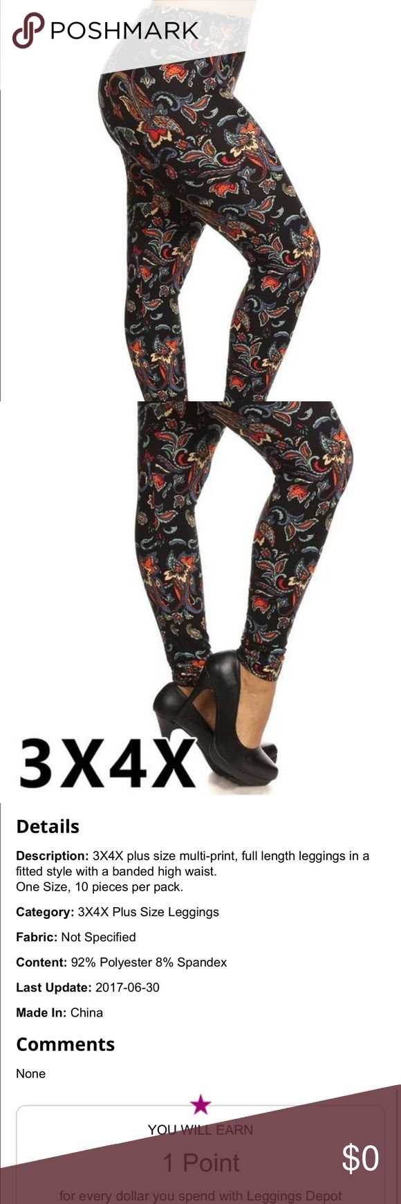 COMING SOON Plus Size Print Leggings Multi-Print Full Length Fitted High Waist Leggings.  92% Polyester and 8% Spandex. Smoke Free Home. Fast Shipping.  5⭐️ Rating !! Pants Leggings