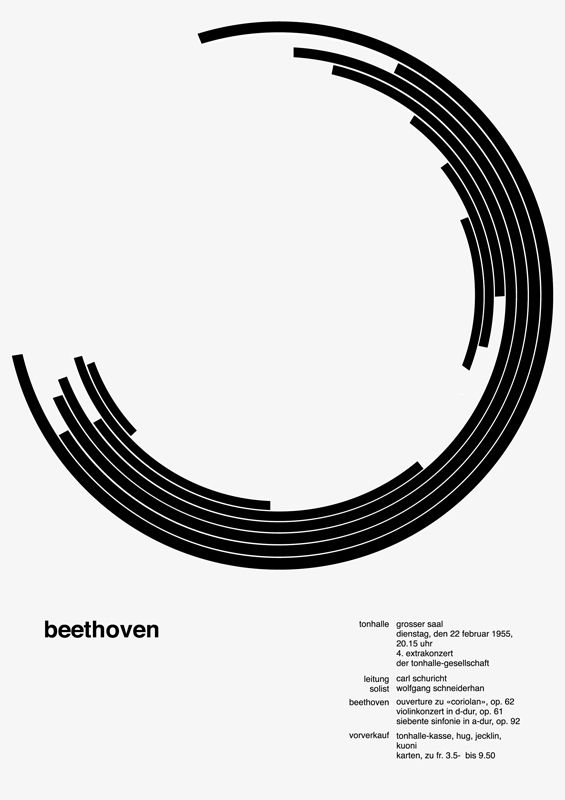 Josef Muller Brockmann's Beethoven poster 시계소리