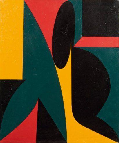 Victor VASARELY (1908-1997)  Borha Acrylique sur toile Signée, datée 1950 (R),