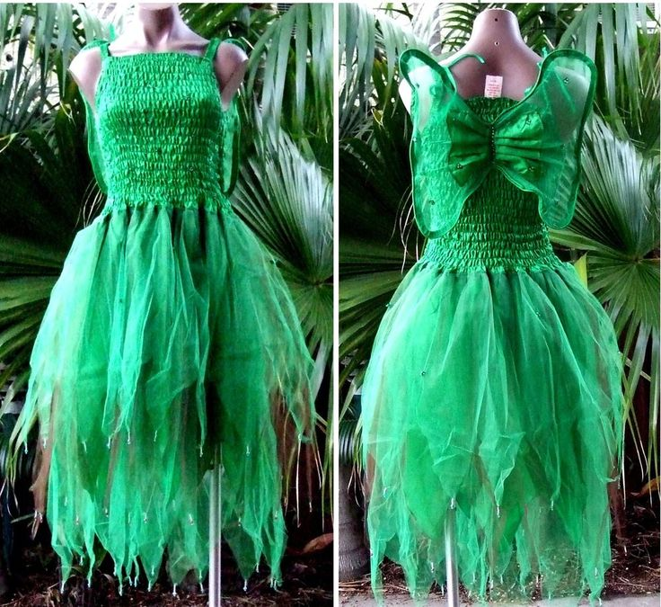 ADULT WOMENS - Tinkerbell Forest Fairy Fancy Dress Costume - Green/Brown
