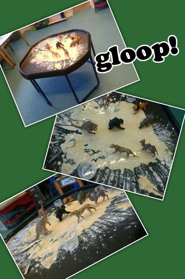 Wild animals stuck in gloop (corn flour and water) would be good with the story Duck in the truck.