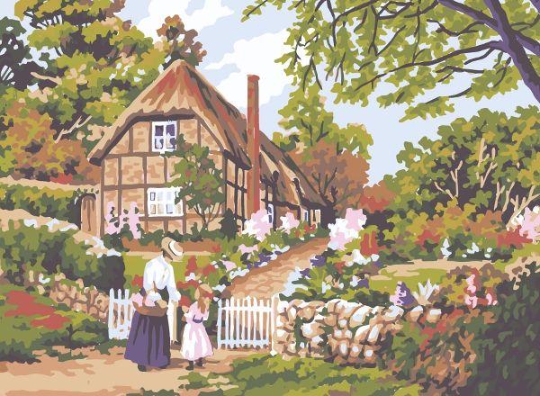 Collection d'Art:6.278 Cottage Gate - CANVAS ONLY - Penelope White Canvas, colour printed design. Canvas size 30cm X 40cm with DMC thread recommendations.