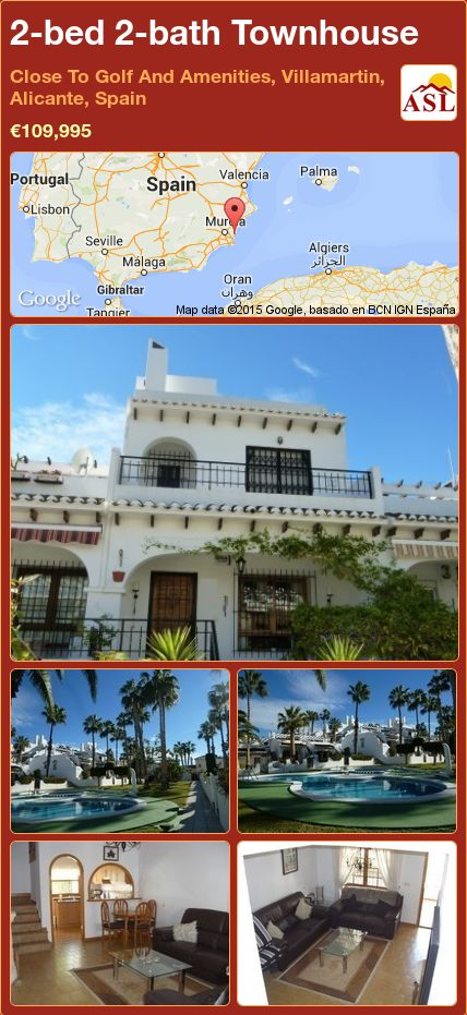 2-bed 2-bath Townhouse in Close To Golf And Amenities, Villamartin, Alicante, Spain ►€109,995 #PropertyForSaleInSpain