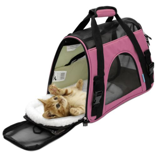 This Pet carrier has the added benefit of including a washable travel pet bed, built specifically for the carriers shell. The removable pet bed is constructed of soft cushioned fleece and provides a w