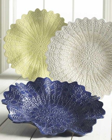 "Delicate ""Lace Pottery"" bowls from Maggie Weldon. A hand crocheted doily was used to make the impression in the clay.  Pretty.  enjoy hh:"