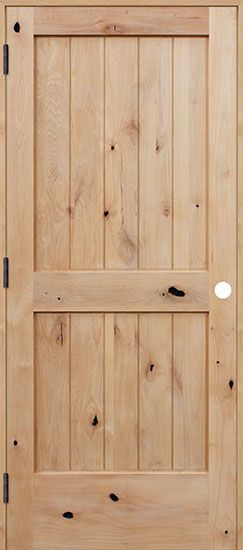 The 2-panel plank knotty alder wood interior door from #PacificEntries Hello Lovely chose for the Chicagoland fixer upper  http://www.pacificentries.com/interior-swinging-ua2242.html