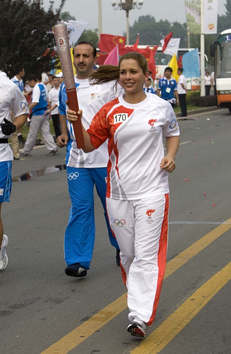 2008 - Princess Haya participates to the Olympic Torch relay in Beijing, China