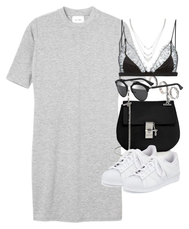 """""""Untitled #1900"""" by sophiasstyle ❤ liked on Polyvore featuring ASOS, Monki, Christian Dior, Chloé, adidas, Maison Close and Forever 21"""