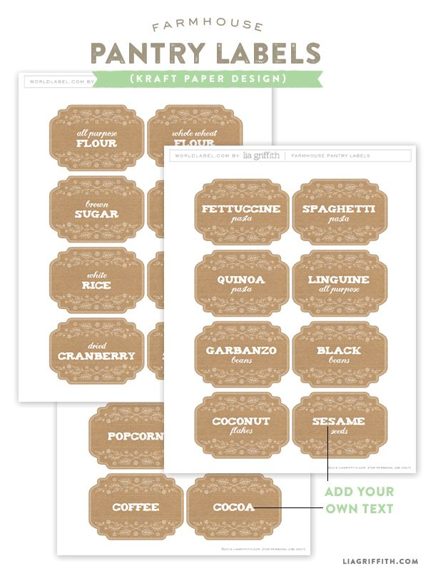Kraft Pantry and Kitchen labels :: Free Printables by @lia griffith