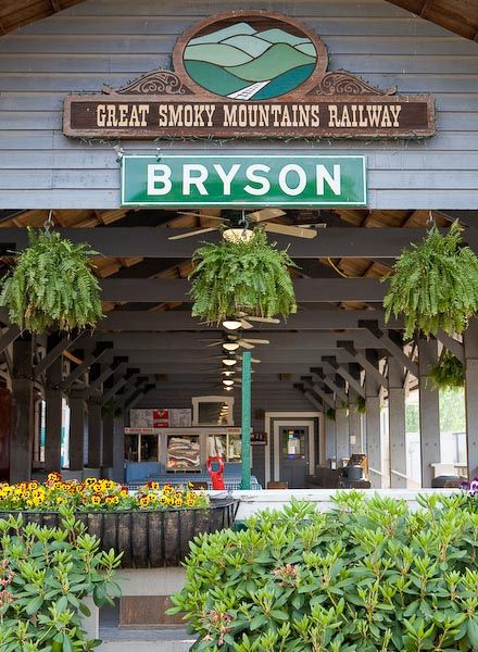 Train station in Bryson City, North Carolina.  Operated by the Great Smoky Mountains Scenic Railway.