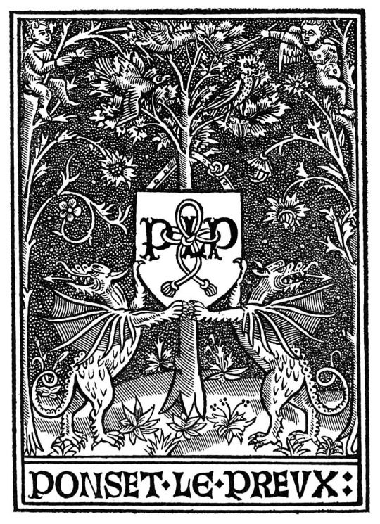 Printer's mark of Poncet le Preux.  From Marques typographiques vol. 2 by Louis-Catherine Silvestre, Paris, 1867.
