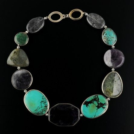 Turquoise, amethyst, and prehnite sterling silver banded beads with faceted nuggets, sterling clasp.