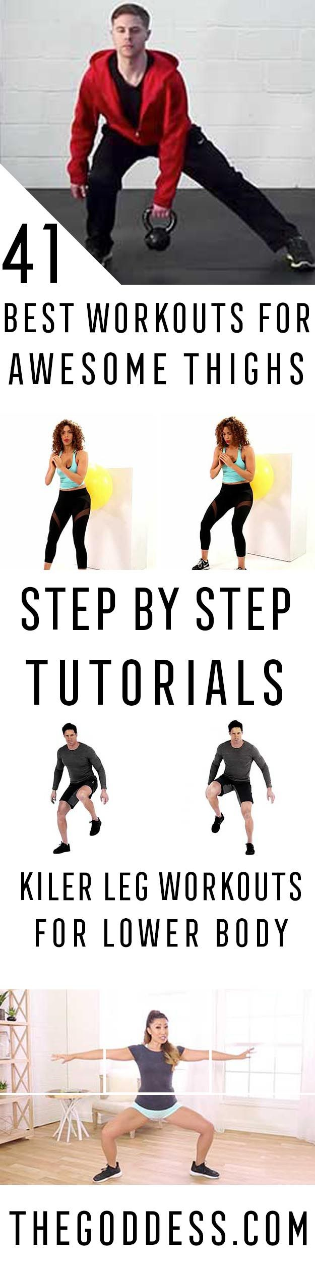 Best Workouts for Awesome Thighs - Step By Step Tutorials And Workouts To Sculpt Your Legs. Killer Leg Workouts For Toning Thighs And Work Outs To Get Those Lower Bodies In Shape. Exercise And Diet To Get Great Legs, A Great Butt, And For Toned Thighs. Use The Gym And Squats To Increase Weightless, Increase Fitness, And Get Those Glutes In Shape. Stronger Legs And Flat Abs Because Of Increased Metabolism Leads To Losing Weight. https://thegoddess.com/workouts-thighs