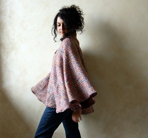 Wool and Silk cape  women's outerwear  one of a kind by LoreTree, €135.00