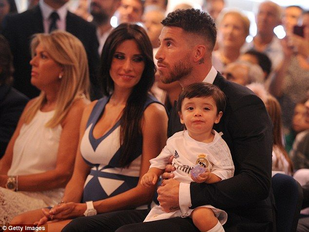 Ramos with Pilar and their son Sergio Junior Ramos at a press conference to announce a new  contract