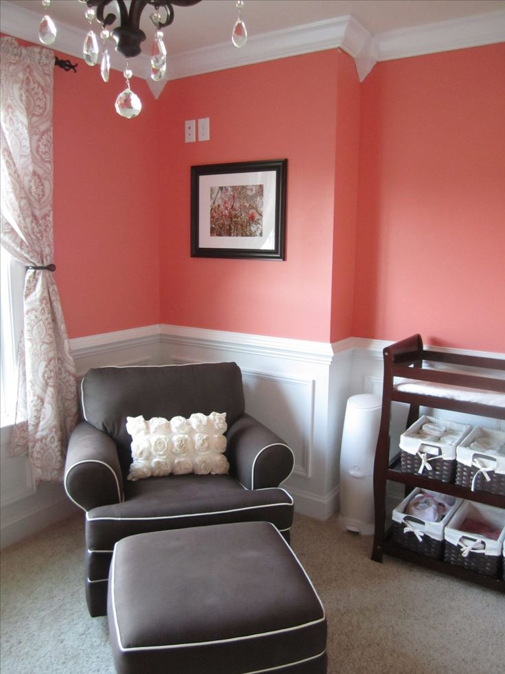 Coral baby girl nursery.