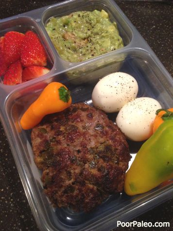 Paleo Lunch Box #11 Guacamole Burger - Poor Paleo. Love eating low carb/ paleo lunches. Tons of yummy ideas here!