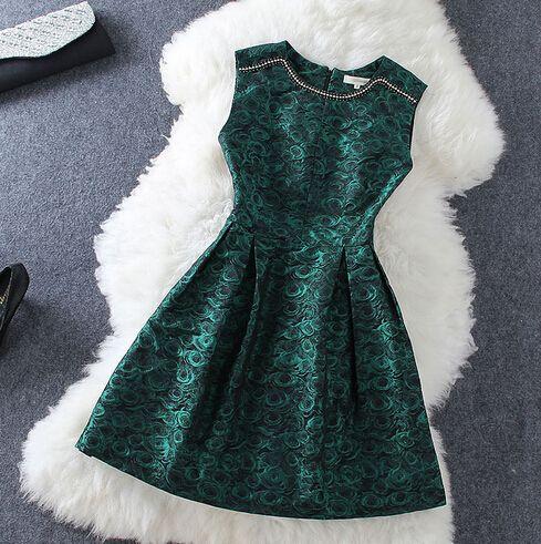 Elegant Printed Sleeveless Dress AX102001ax