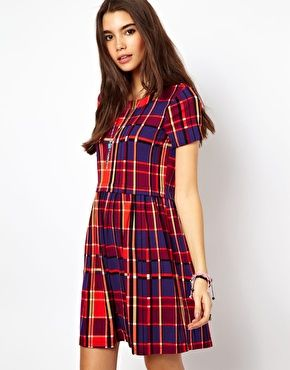 ASOS Skater Dress In Tartan