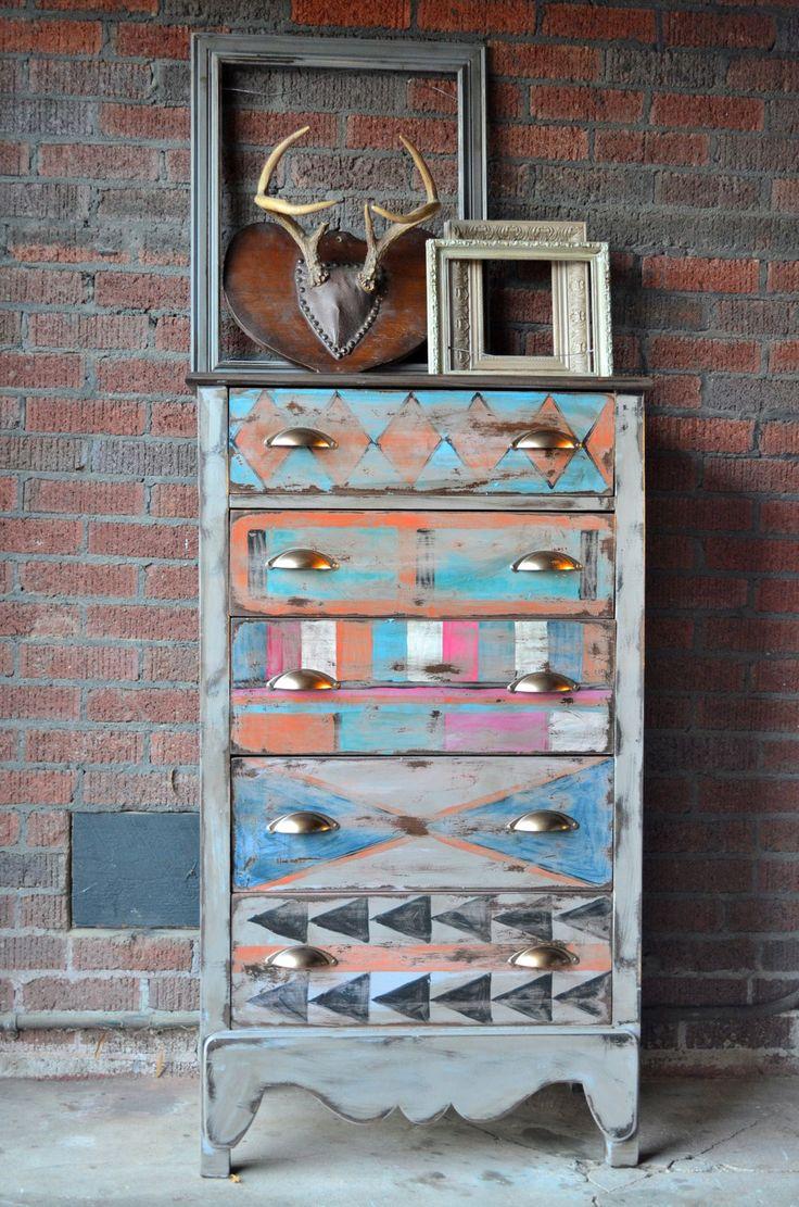 Painted furniture painted dresser tribal art by BlackSheepMill, $300.00