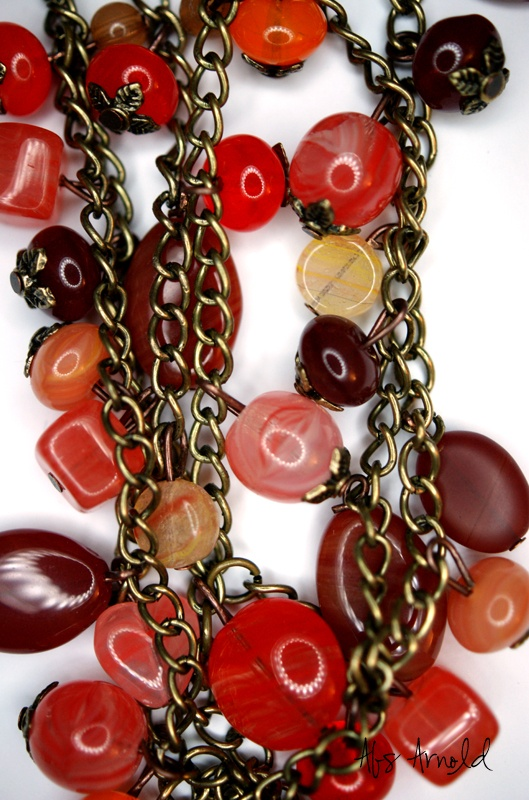 Summer reds multi layer necklace