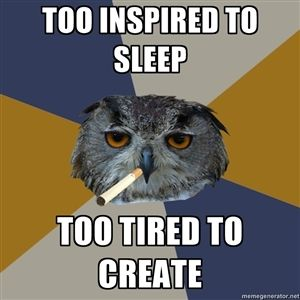 Too inspired to sleep Too tired to create | Art Student Owl | Meme Generator