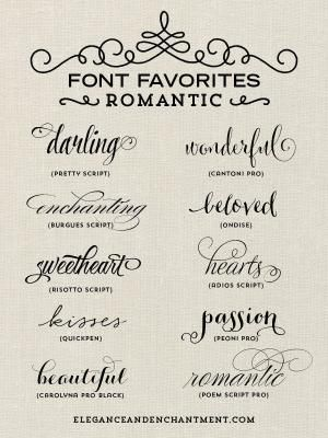A Collection Of Romantic Inspired Fonts From Elegance And Enchantment.  Perfect For Weddings, DIY