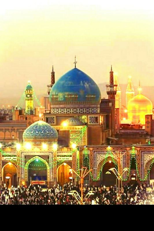 The Imam Reza Shrine in Mashhad, Iran is a complex which contains the mausoleum of Imam Reza, the eighth Imam of Twelver Shiites. It is the largest mosque in the world by dimension and the second largest by capacity.