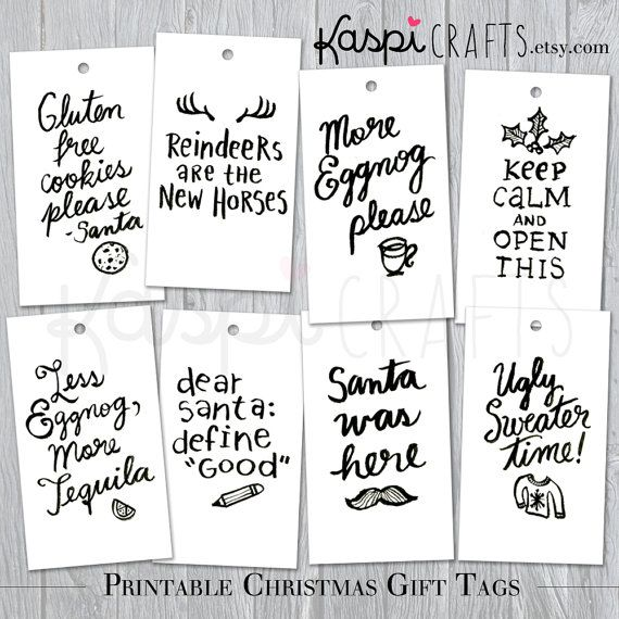 Christmas Gift Tag  Printable Gift Tags  Funny Gift by KaspiCrafts, $5.00