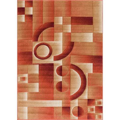 "Well Woven Brooklyn South Street Modern Geometric Squares Orange Area Rug Rug Size: 7'10"" x 9'10"""