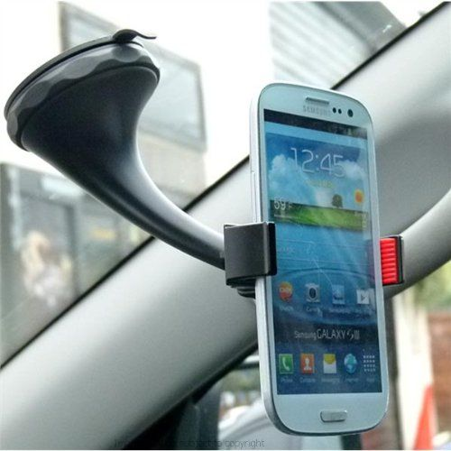"""Twist & Lock Spring Grip Rubber Lip Car Mount for the Samsung Galaxy S3 III 3 (sku 18026). The Twist 'n' Lock Spring-Grip Rubber-Lip Car Mount for the Samsung Galaxy S3 III is constructed with a rigid 13cm (5.12"""") arm which acts to reduce vibration as well as giving extra reach for deep windshields. The twist 'n' lock mechanism on this mounting option provides a secure grip onto the glass of the windscreen. The 70mm (2.75"""") diameter suction cup has a release tab for easy removal. The..."""