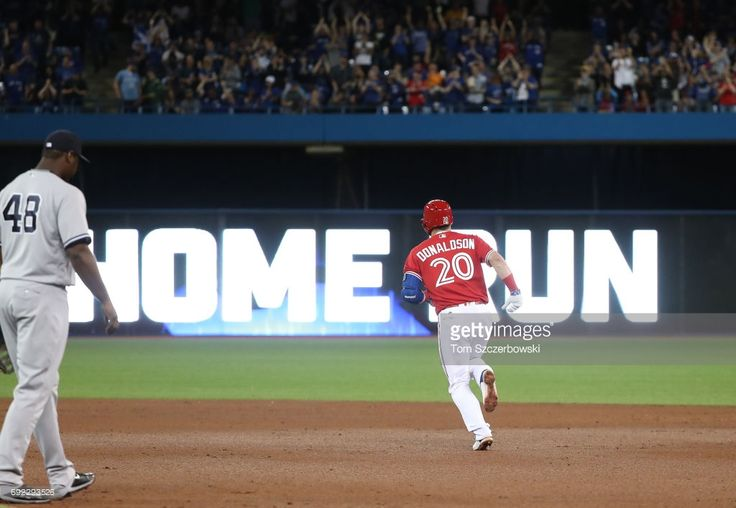Josh Donaldson #20 of the Toronto Blue Jays circles the bases after hitting a solo home run in the eighth inning during MLB game action against the New York Yankees at Rogers Centre on June 4, 2017 in Toronto, Canada.