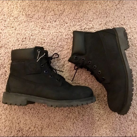 Black Timberland Boots All black timbs. Women's 8/Boys 6.5. Good condition. Worn a handful of times. Timberland Shoes Winter & Rain Boots