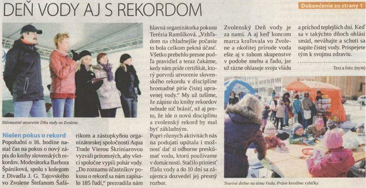 SME - Rekord s vodou zo Zvolena.